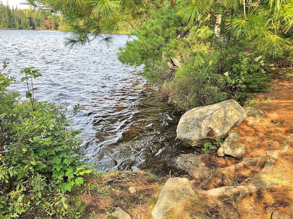 Rocky canoe landing on Otterslide Lake campsite 3 in Algonquin Park