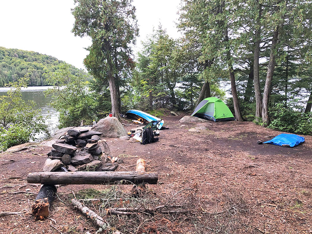 Interior of island campsite #4 on Otterslide Lake in Algonquin