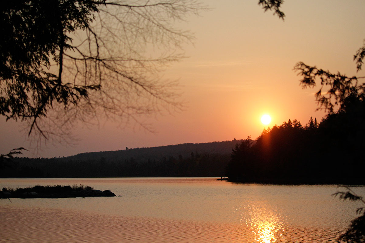 Early morning sunrise on Ragged Lake during Thanksgiving long weekend in Algonquin Park 2020
