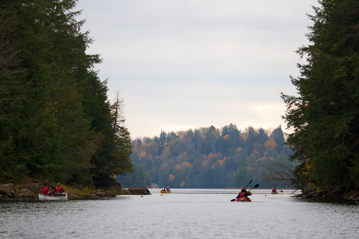 Canoeists and kayakers entering Ragged Lake during October long weekend 2020