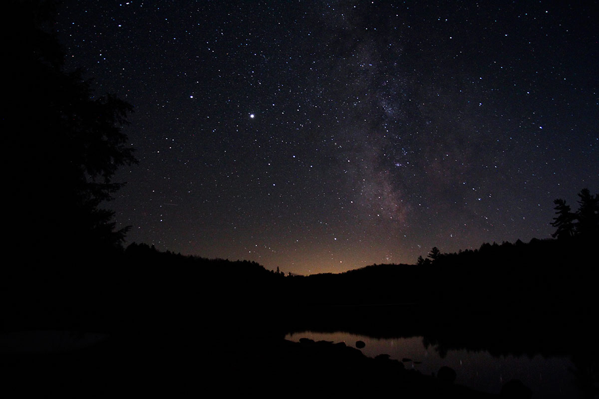 Milky way night sky photography in Algonquin Park on Ragged Lake