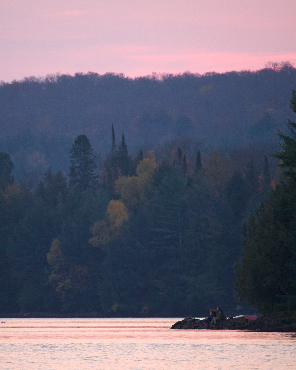 Pink skies during sunrise on Ragged Lake Thanksgiving October 2020 vertical photo