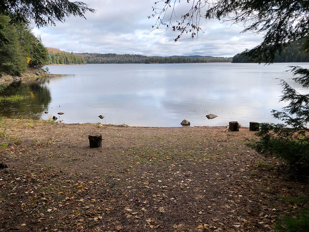 Canoe landing on the east side of campsite #14 on Ragged Lake