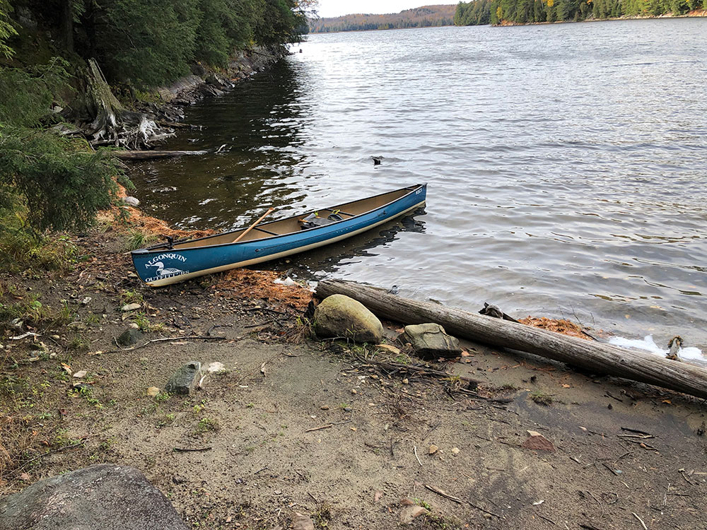 Canoe landing on west side of campsite #14 on Ragged Lake