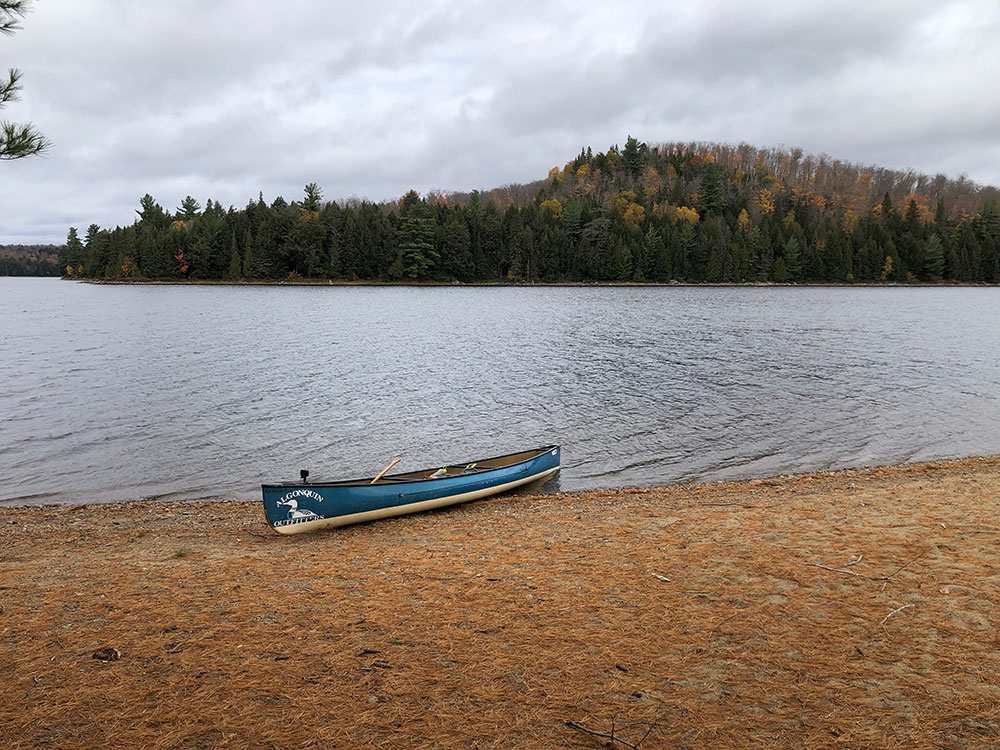 Large beach canoe landing on Ragged Lake campsite #16