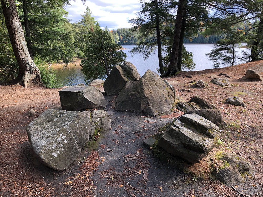 Large boulders in the middle of Campsite #2 on Ragged Lake