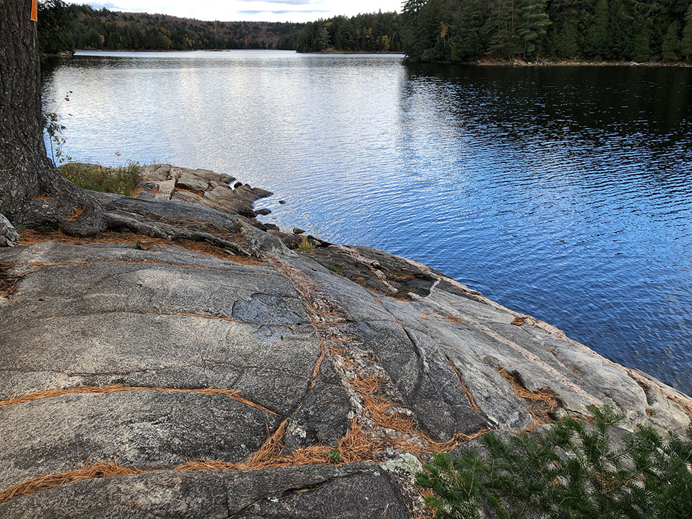 Large rock by the shoreline on Ragged Lake campsite #20