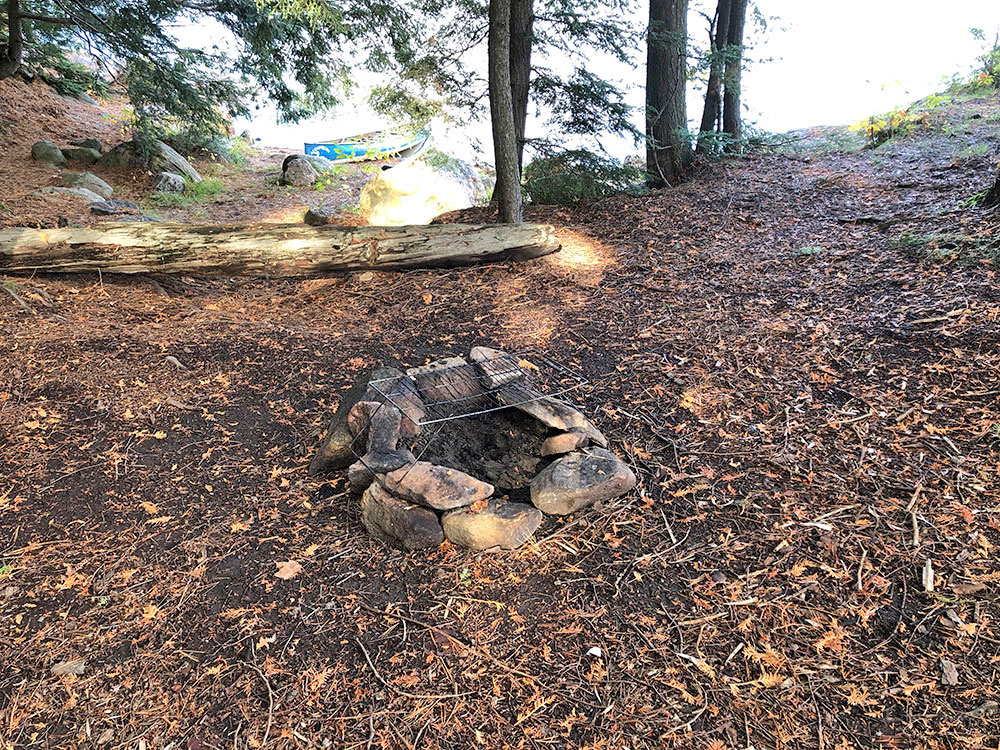 Small secondary fire pit on Ragged Lake campsite #21 in Algonquin Park