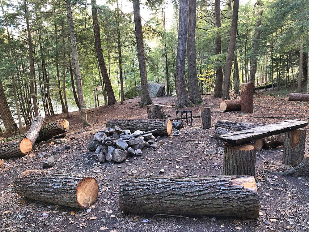 Main fire pit and seating area on Ragged Lake campsite #22 in Algonquin Park