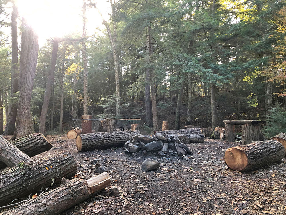 Interior of campsite #22 on Ragged Lake looking towards the fire pit and seating