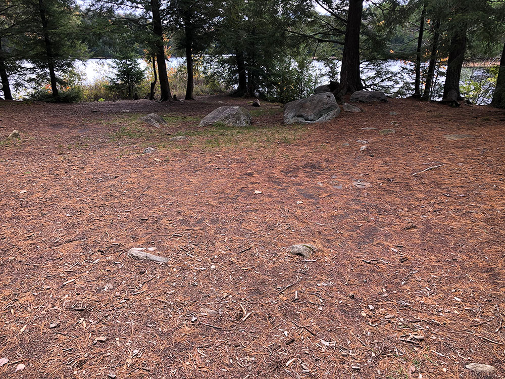 Large tent spot on Ragged Lake campsite #3