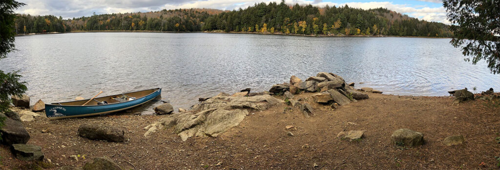 Panoramic of the canoe landing on Ragged Lake campsite #8