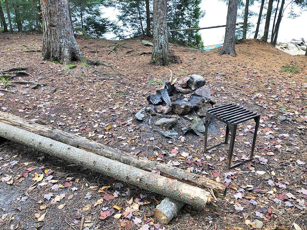Fire pit and seating area on Ragged Lake campsite #8