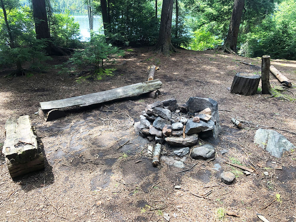 Hambone Lake Campsite 1 Algonquin Park fire pit and seating area