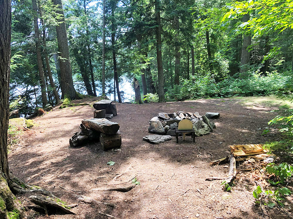 Hambone Lake Campsite 3 Algonquin Park fire pit and seating area