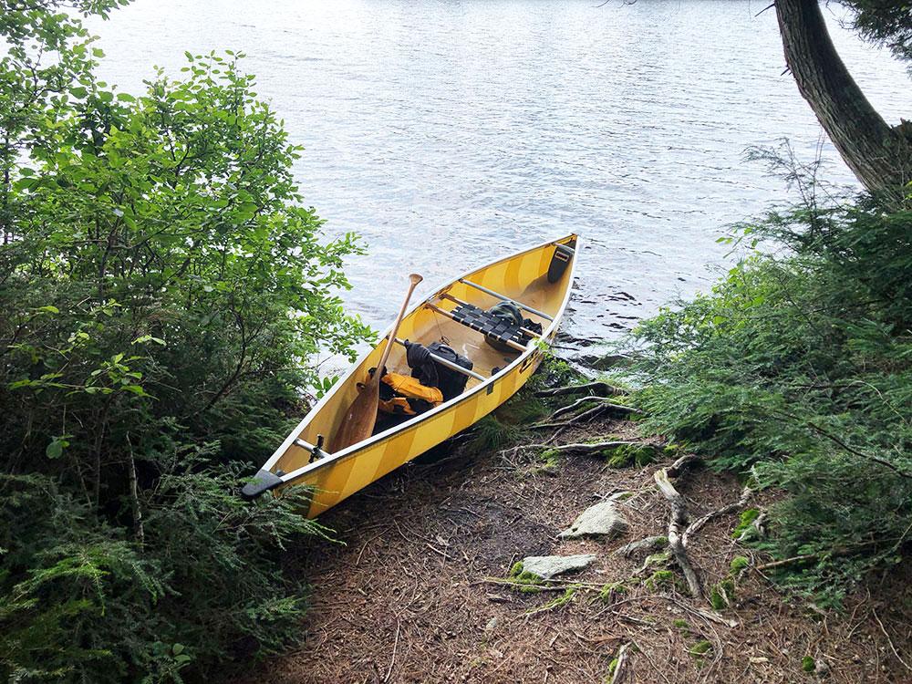 Little Trout Lake Campsite 10 Algonquin Park solo canoe at the canoe landing of campsite