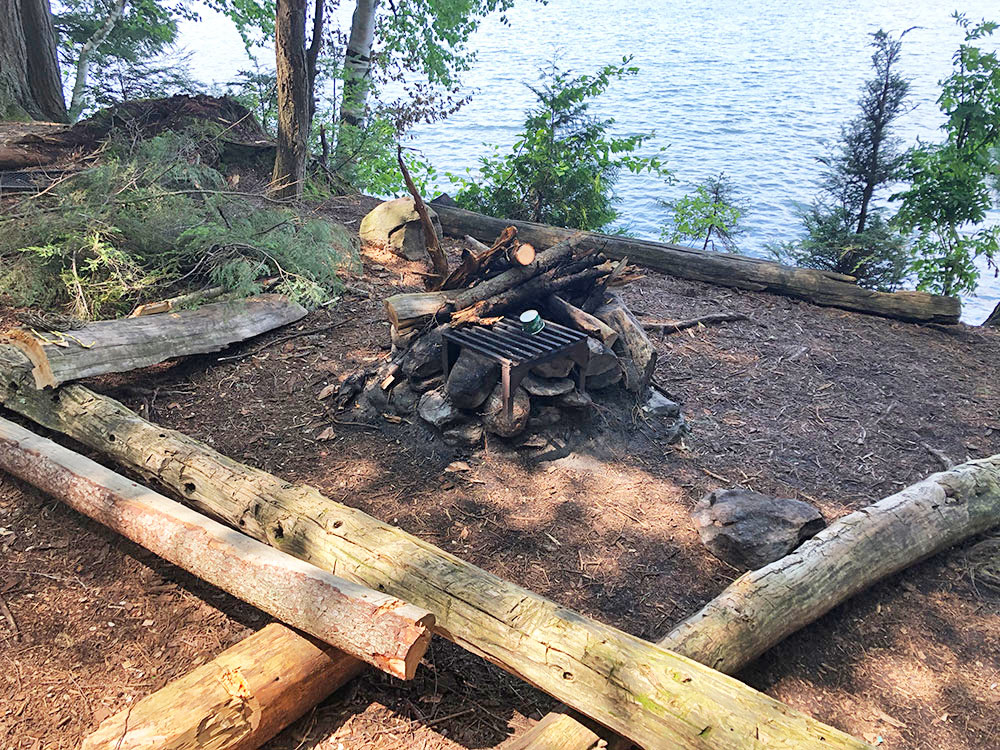 Little Trout Lake Campsite 4 Algonquin Park fire pit and seating area