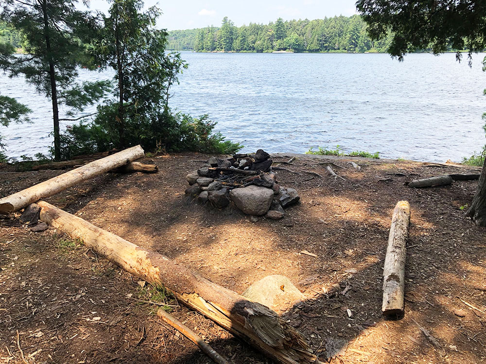 Little Trout Lake Campsite 5 Algonquin Park fire pit and seating area