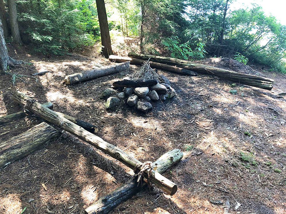 Little Trout Lake Campsite 8 Algonquin Park fire pit and seating area