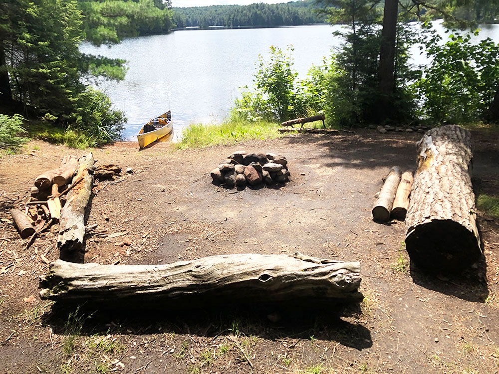 Magnetawan Lake Campsite 2 Algonquin Park fire pit and seating area