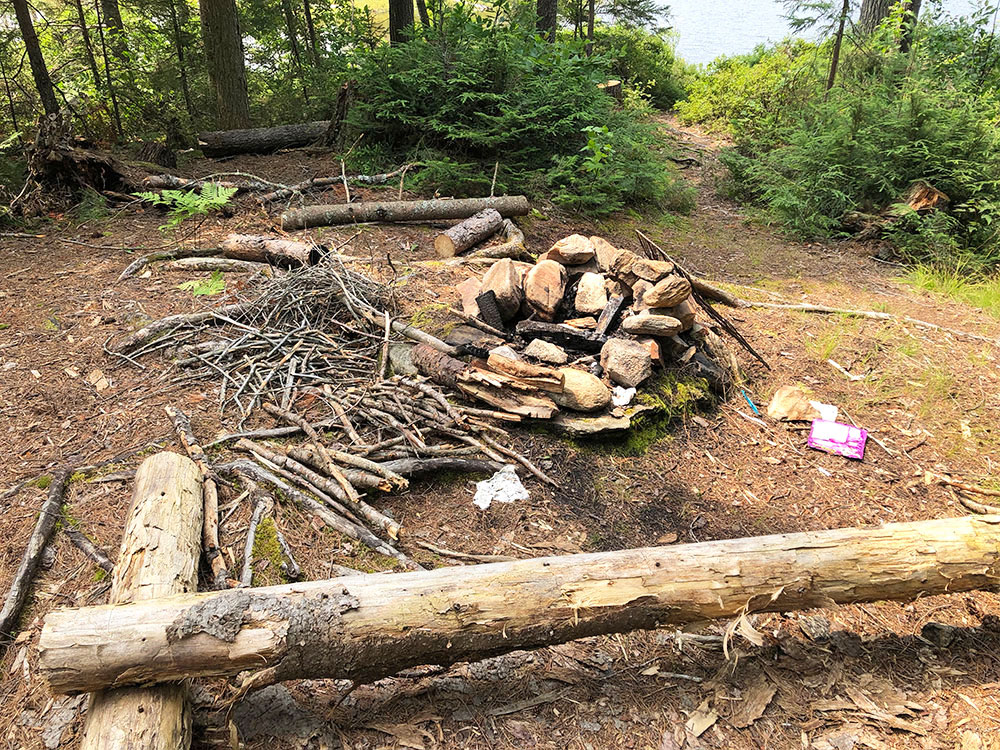Queer Lake Campsite #1 2021 fire pit and seating area