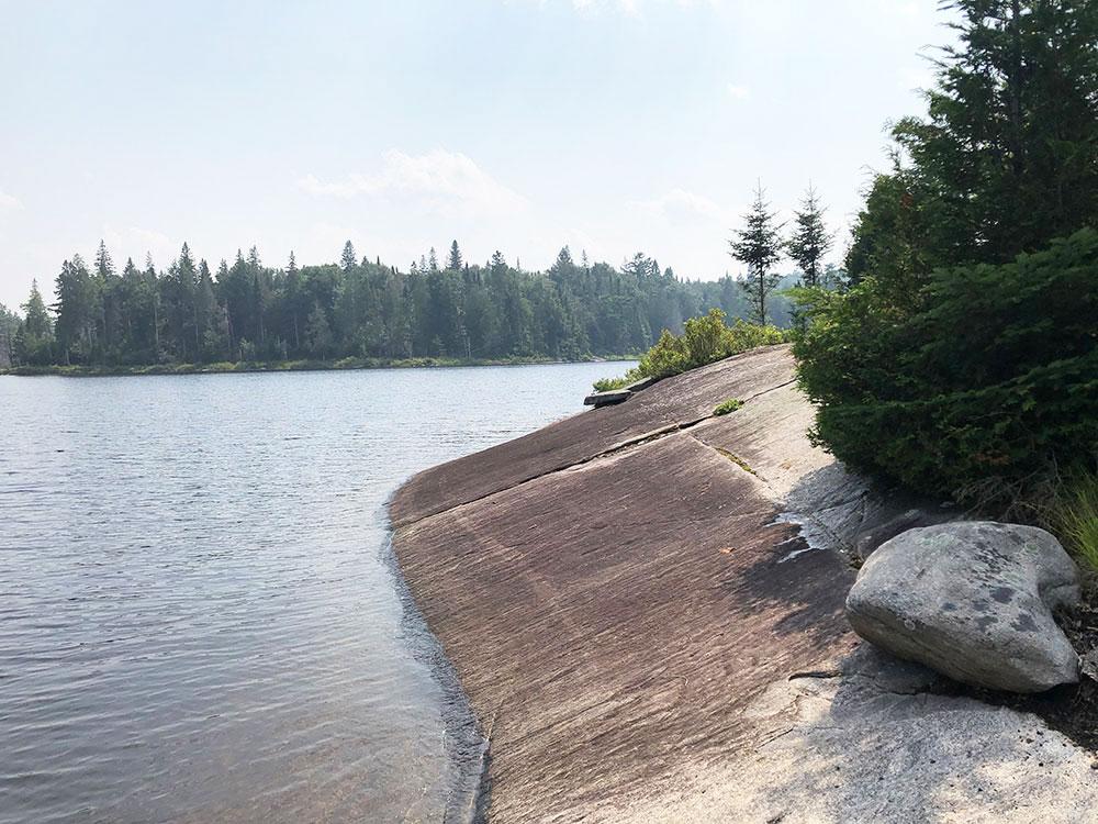 Queer Lake Campsite #7 2021 rocky shoreline