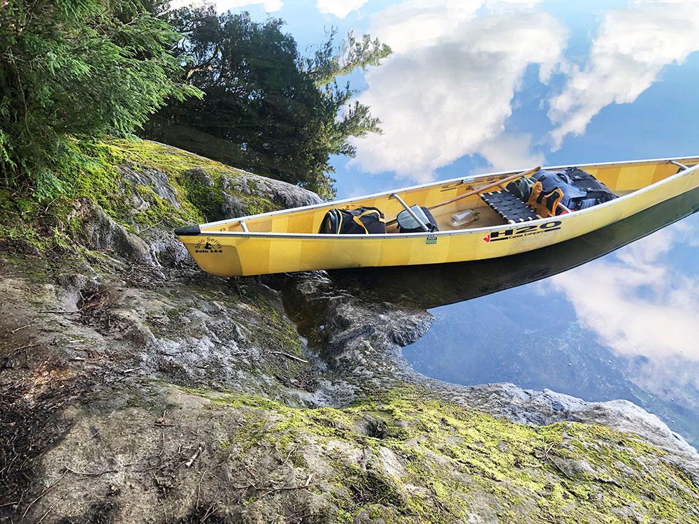 Ralph Bice Campsite 12 Algonquin Park canoe landing with H20 solo canoe
