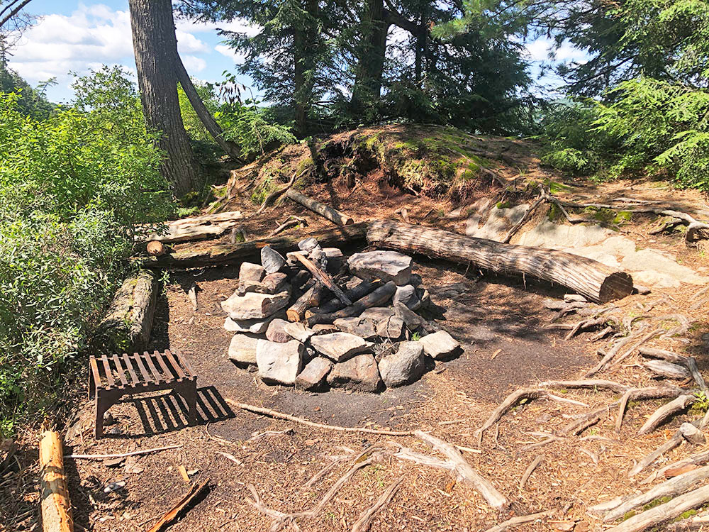 Ralph Bice Campsite 13 Algonquin Park interior of campsite with fire pit and seating