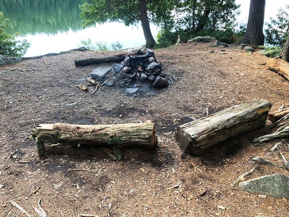 Ralph Bice Campsite 4 Algonquin Park fire pit and seating area