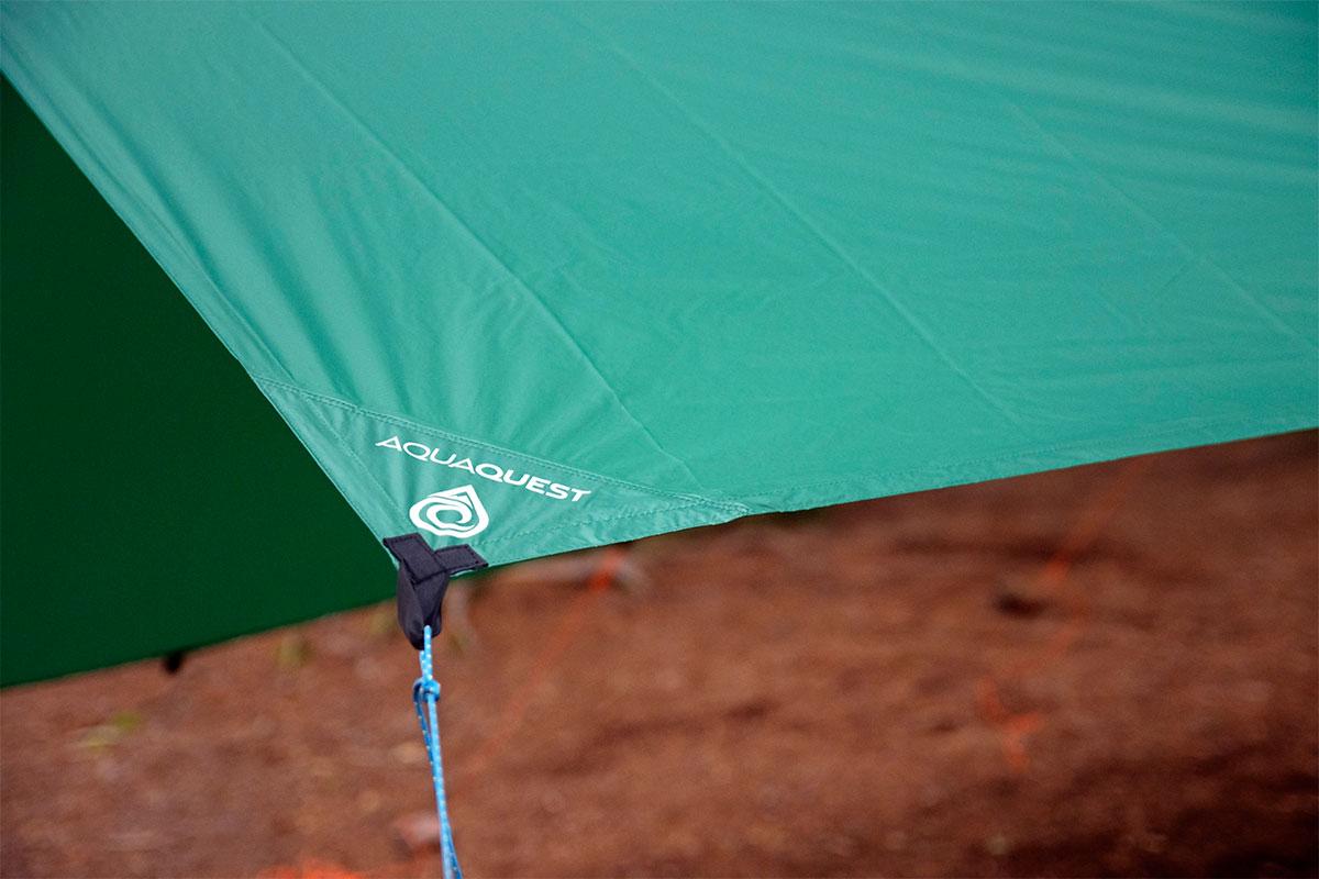 AquaQuest tarp hanging on Queer Lake campsite July 2021