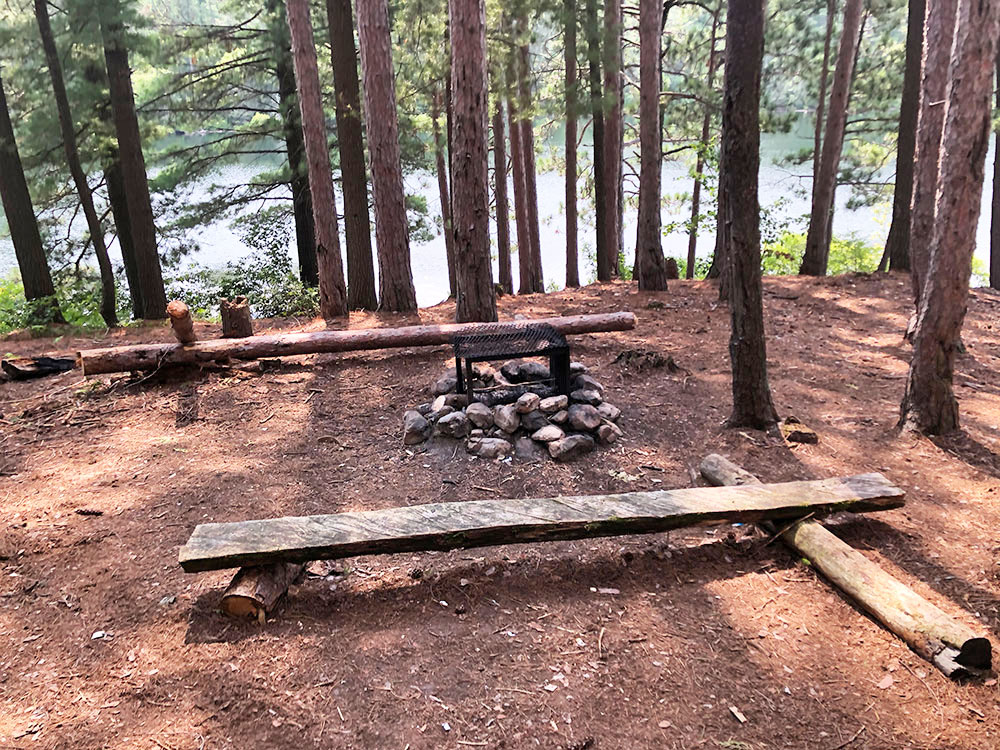 Ryan Lake Algonquin Park Campsite 11 fire pit and seating area