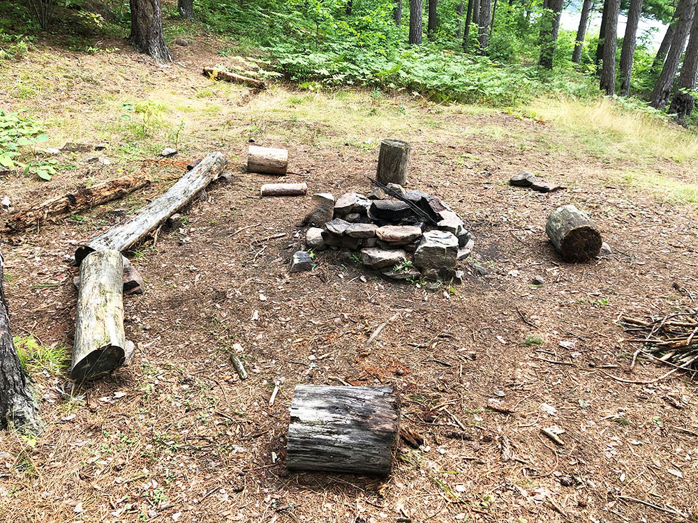 Ryan Lake Algonquin Park Campsite 3 fire pit and seating area