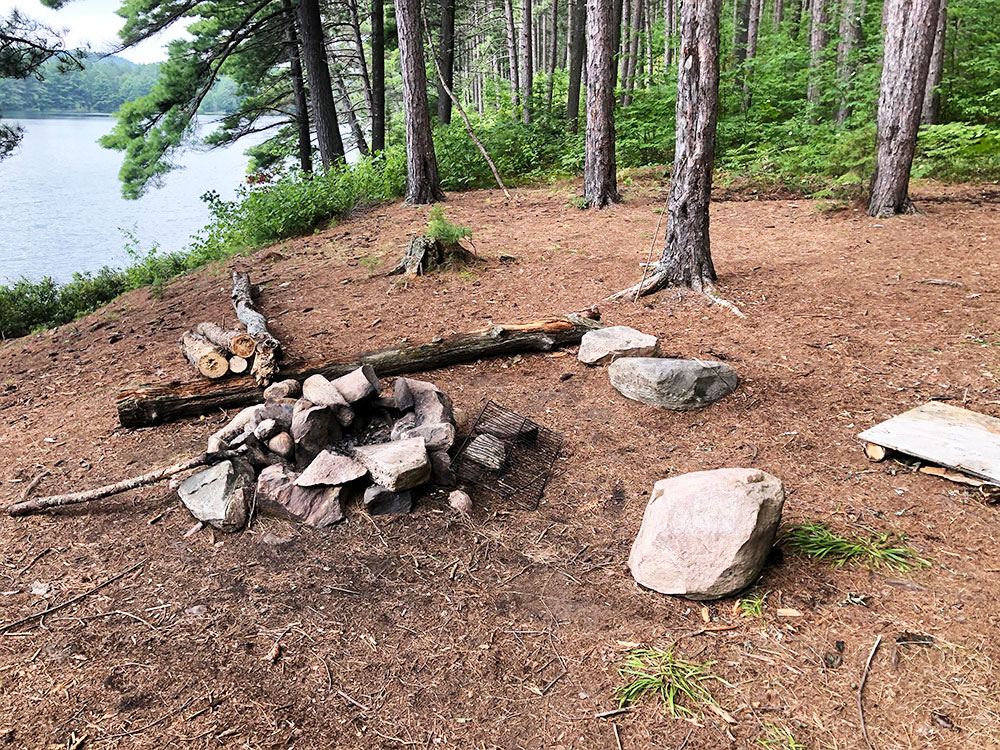 Ryan Lake Algonquin Park Campsite 4 fire pit and seating area
