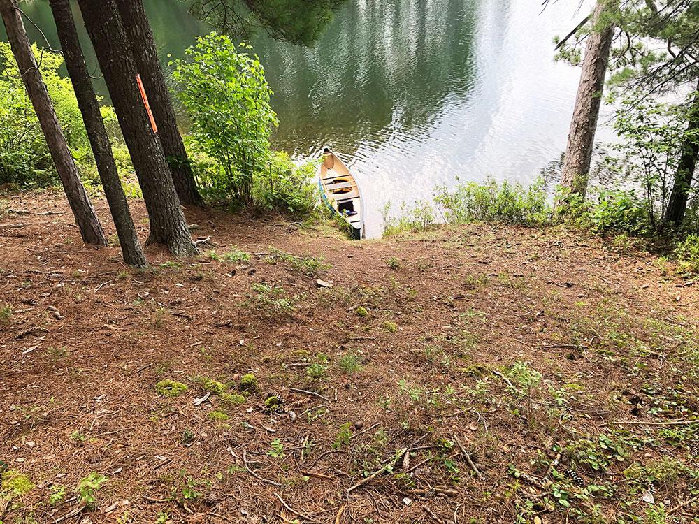 Ryan Lake Algonquin Park Campsite 9 incline to the main campsite area