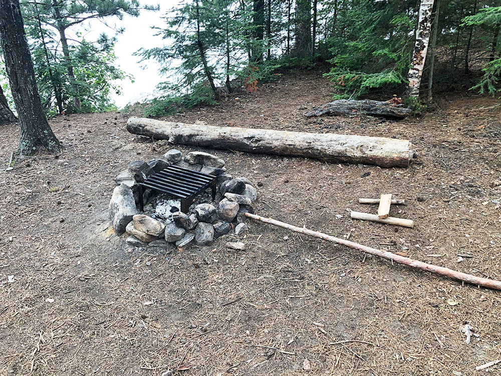 Shirley Lake Algonquin Park Campsite 1 fire pit and seating area