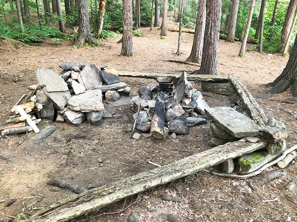 Shirley Lake Algonquin Park Campsite 4 fire pit and seating area