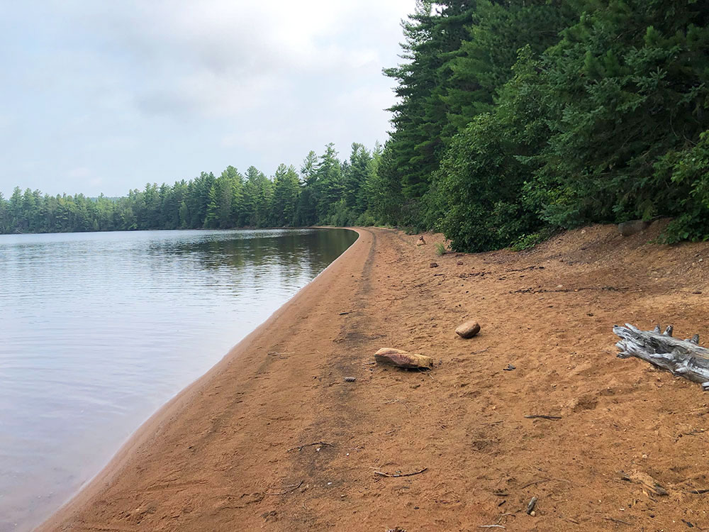 Shirley Lake Algonquin Park Campsite 5 beachfront looking east