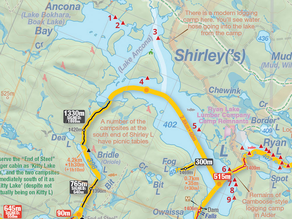 Map of Shirley Lake and campsites in Algonquin Park